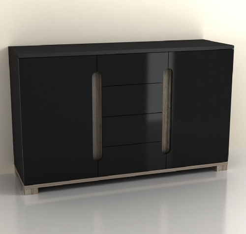 Costa Black Gloss Sideboard - 2582